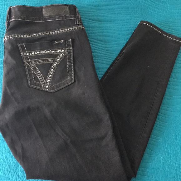 7 For All Mankind Pants - 7  for all mankind  jeweled pockets black